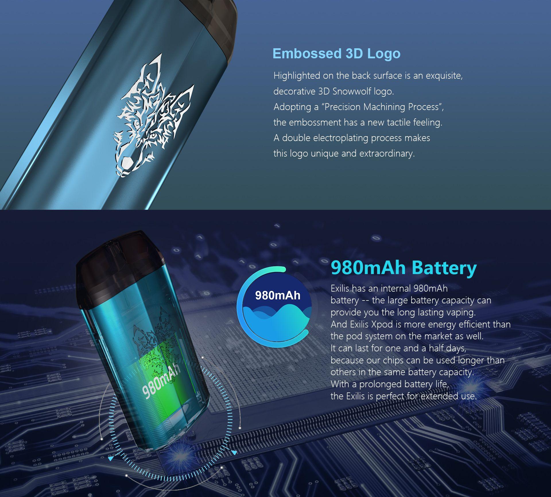snowwolf exilis pod system battery capacity