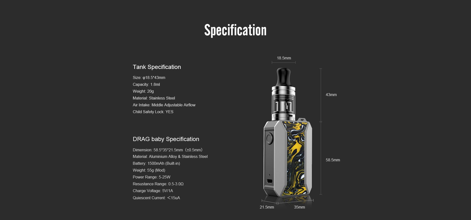 Voopoo-drag-baby-trio-mod-device-specifications