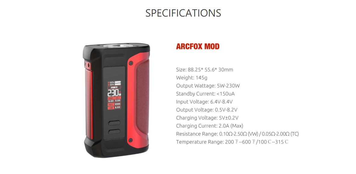 Smok Arcfox 230w Specs Specifications