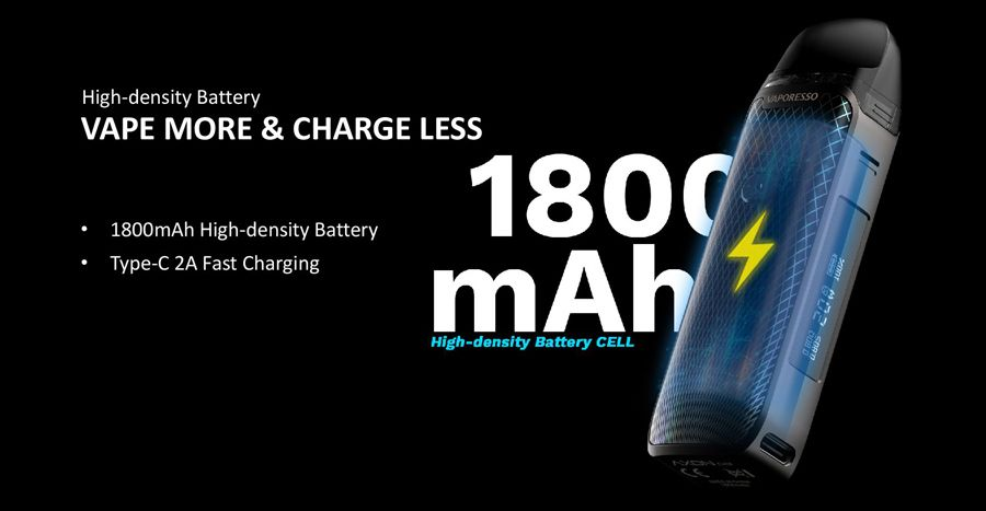 Vaporesso LUXE PM40 battery life 1800mah