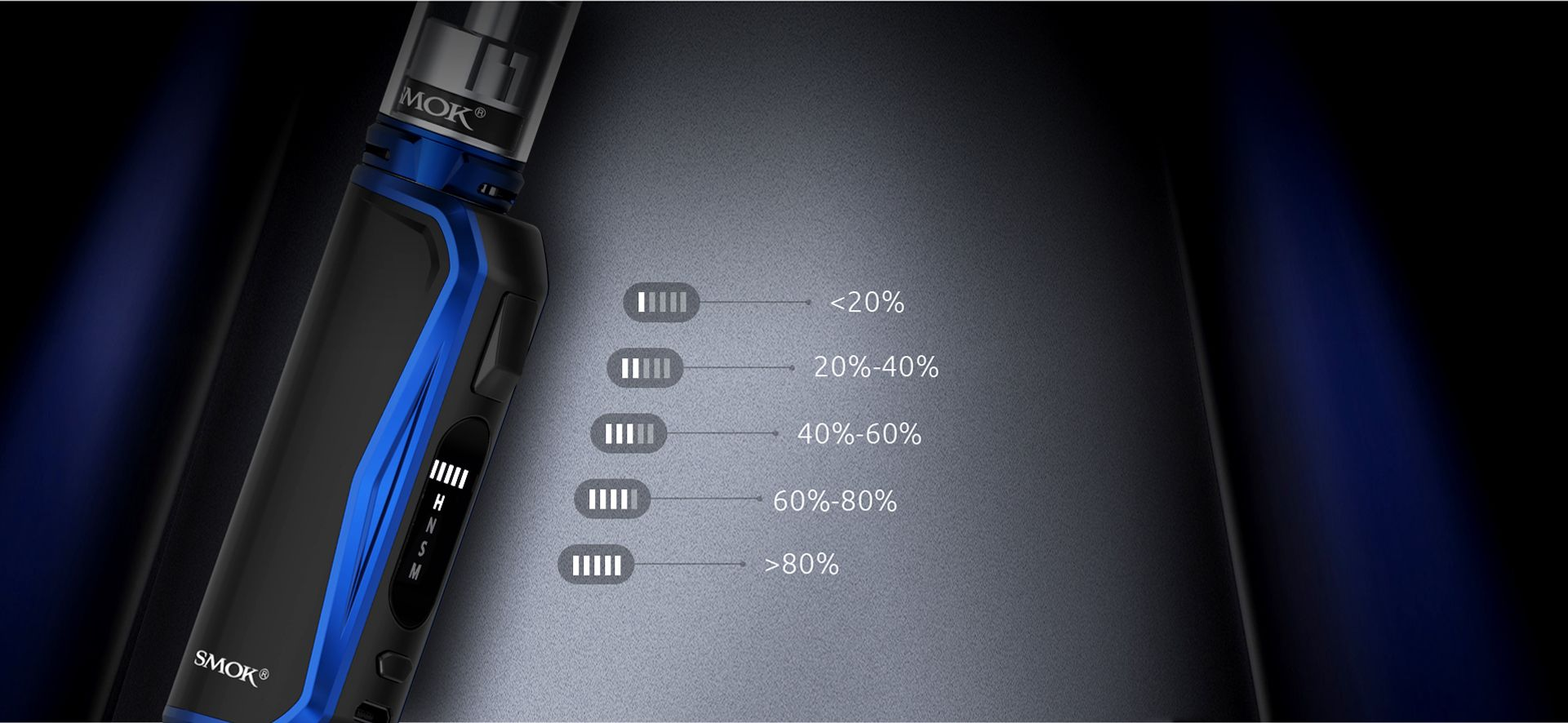 smok priv n19 kit device battery life indicator