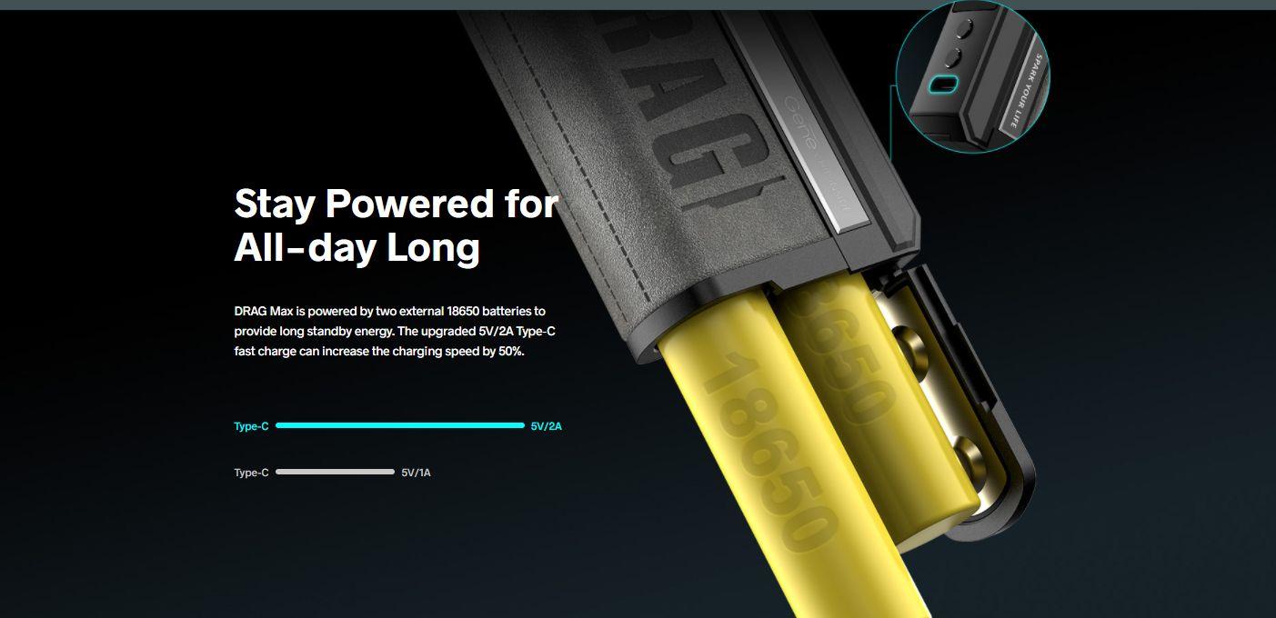 Voopoo Drag Max dual 18650 battery capacity