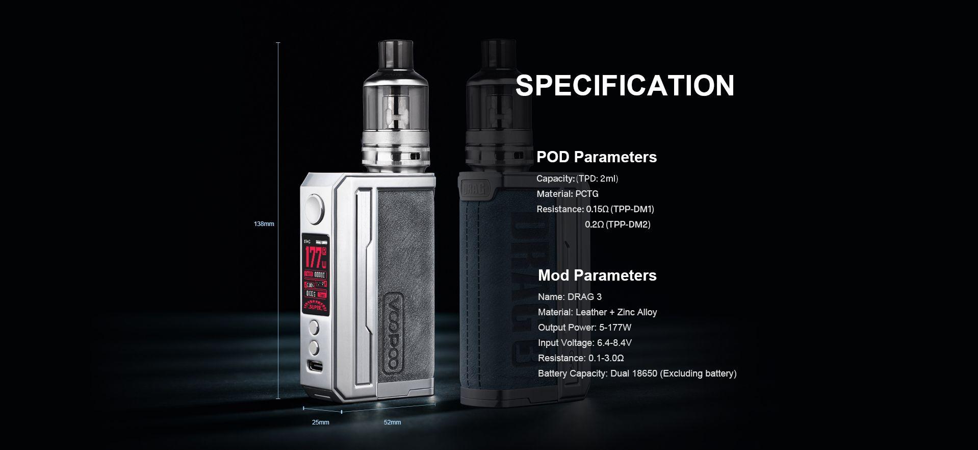 Voopoo Drag 3 specs specifications