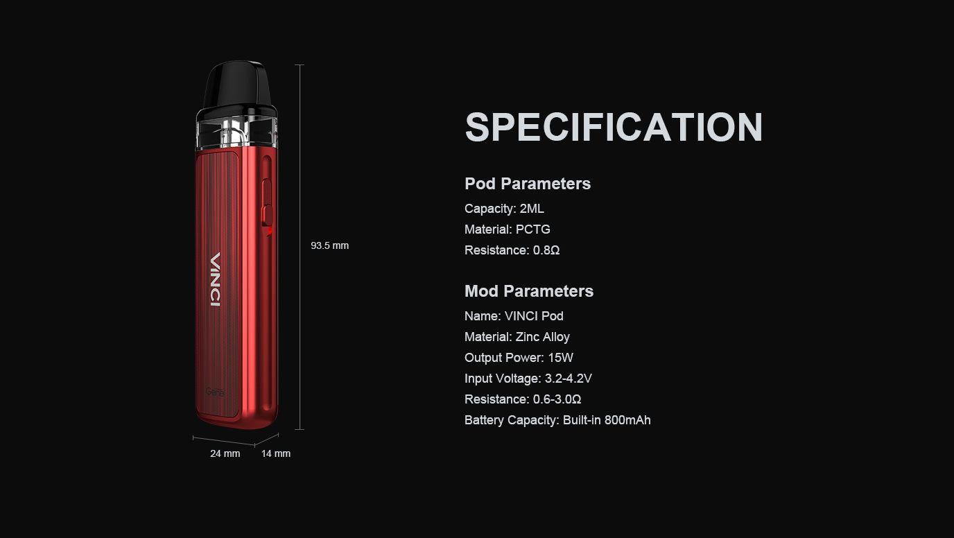 Voopoo Vinci Pod Specifications