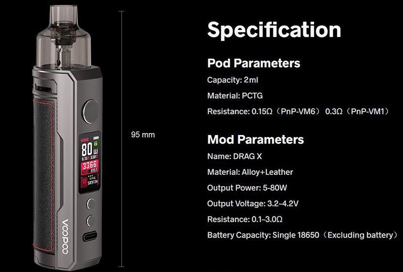 Voopoo Drag-X Drag X Specifications specs