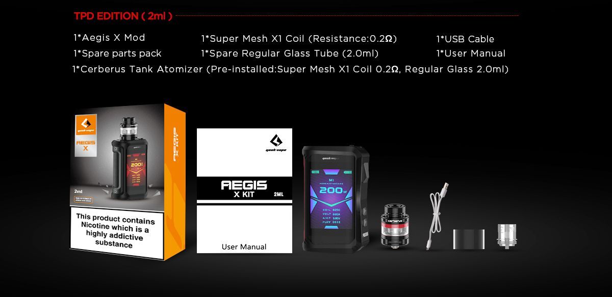 geekvape aegis-x kit whats in the box